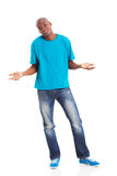 Careless african man. Careless african american man isolated on white background Royalty Free Stock Images