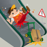 A careless delivery man slipping on escalator Royalty Free Stock Photography
