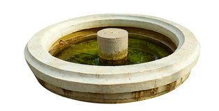 Careless fountain. White background. Fountain with dirty water Royalty Free Stock Images
