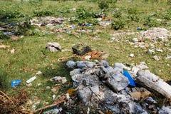 Careless garbage disposal. In park Stock Image