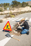 Careless road works Royalty Free Stock Image