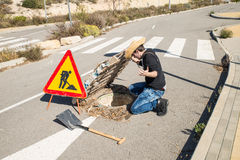 Careless road works Stock Images