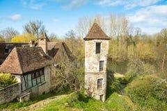 carennac村庄平安的街道法国的 免版税库存照片