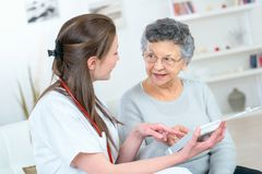 Carer with senior citizen. Care royalty free stock photos
