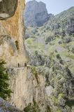 People hiking on the route of Cares, Spain, Europe stock photography