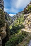 The Cares trail, garganta del cares, in the Picos de Europa Mountains, Spain royalty free stock photo