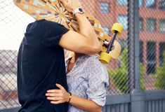 Caressing couple hiding Stock Photos