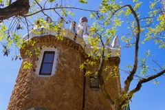 Caretaker`s lodge with branches view in Park Güell, Barcelona, Spain - Image stock image