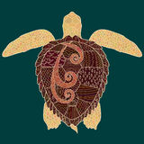 Caretta-caretta turtle with high details. Adult antistress coloring page. Colored hand drawn doodle oceanic animal. Sketch for tattoo, poster, print, t-shirt Stock Photo