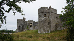 Carew Castle and lake Royalty Free Stock Photo