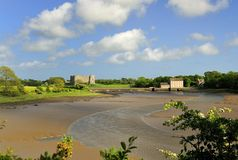 Carew castle and tidal mill, Pembrokeshire, Wales Royalty Free Stock Photo