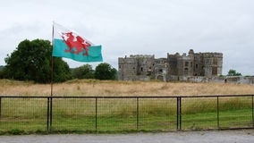 Carew Schloss- und Waliser-Flagge Stockbild