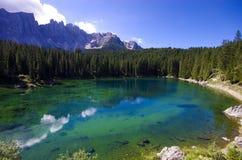 Carezza Lake Arkivfoton