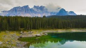 Carezza lake, dolomites royalty free stock images