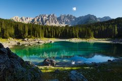 Carezza lake in Dolomites, Italy Stock Photos