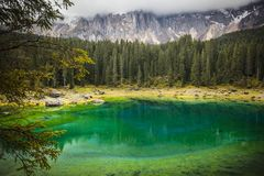 Carezza lake in italy royalty free stock photography