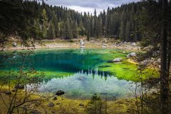 Carezza lake in italy stock photo