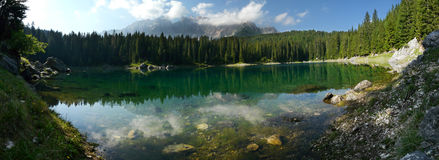 Carezza Lake (Karersee) in the Italian Dolomites Stock Images
