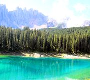 Carezza lake Stock Images