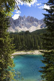 Carezza lake and Latemar Stock Images