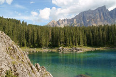 Carezza Lake and Rosengarten stock photos