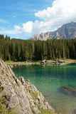Carezza Lake and Rosengarten stock photo