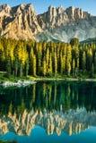 Carezza lake, Val di fassa, Dolomites, Alps, Italy Royalty Free Stock Images
