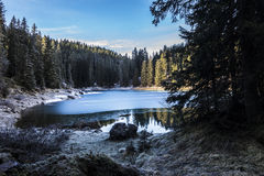 Carezza lake in winter with frosty surface Stock Photo