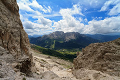 Carezza valley from Vaiolon pass Royalty Free Stock Images