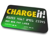 Cargúelo paga plástica del dinero del préstamo de las compras de la tarjeta de crédito más adelante Foto de archivo libre de regalías