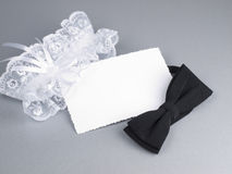 Carg, bridal garter and bow  tie Royalty Free Stock Photo
