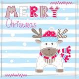 Carg de salutation de Noël avec les cerfs communs mignons illustration stock