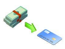 Carga de la tarjeta de crédito con el dinero stock de ilustración