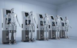 Carga de los robots en la estación stock de ilustración