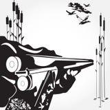 Carga de uma ilustração preto e branco do vetor do conceito do rifle no estilo liso Imagens de Stock Royalty Free
