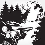 Carga de uma ilustração preto e branco do vetor do rifle no estilo liso Foto de Stock Royalty Free