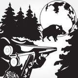 Carga de uma ilustração preto e branco do vetor do rifle no estilo liso Imagens de Stock Royalty Free