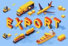 Carga del ferrocarril del concepto del aire del camino de la exportación fotos de archivo libres de regalías