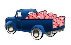 Carga do caminhão dos corações Fotografia de Stock Royalty Free