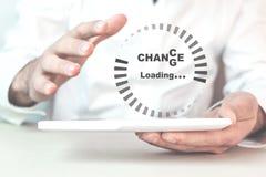 Carga do progresso com a mudança do texto à possibilidade Develo pessoal imagem de stock
