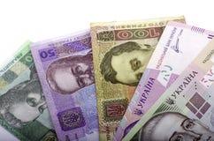 Carga en cuenta el valor nominal veinte del hryvnia, cincuenta hryvnia, ciento Fotos de archivo libres de regalías