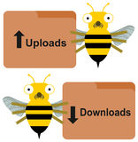 Carga por teletratamiento de la transferencia directa por las abejas Fotografía de archivo libre de regalías