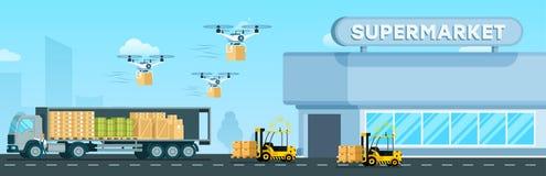 Cargador automático, abejón del vuelo, camión de reparto stock de ilustración