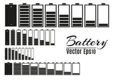 Cargador de batería con las baterías bajas y los indicadores, alto vector del finger aislados Ilustración del vector libre illustration