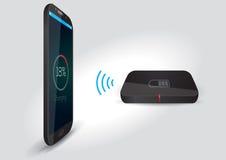 Cargador de batería inalámbrico y Smartphone o tableta - vector Fotografía de archivo libre de regalías