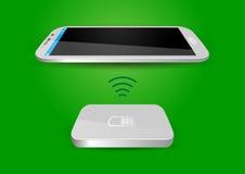 Cargador de batería inalámbrico y Smartphone o tableta - vector Illus Imagen de archivo libre de regalías