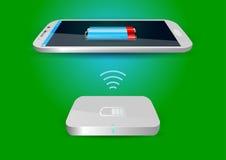 Cargador de batería inalámbrico y Smartphone o tableta - vector Illus Foto de archivo libre de regalías