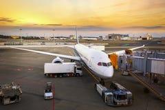 Cargaison de chargement sur l'avion dans l'aéroport Images stock