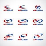 Cargaison de transport d'avion d'air ou vecteur d'affaires de logo d'expédition Photo libre de droits