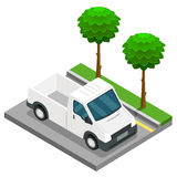Cargaison isométrique de camion de 3d van car de construction de collecte Images stock